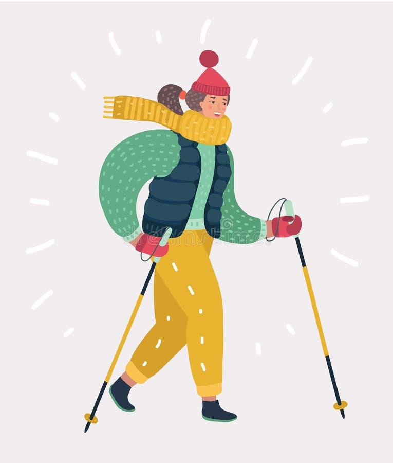 Woman in Nordic walking vector illustration
