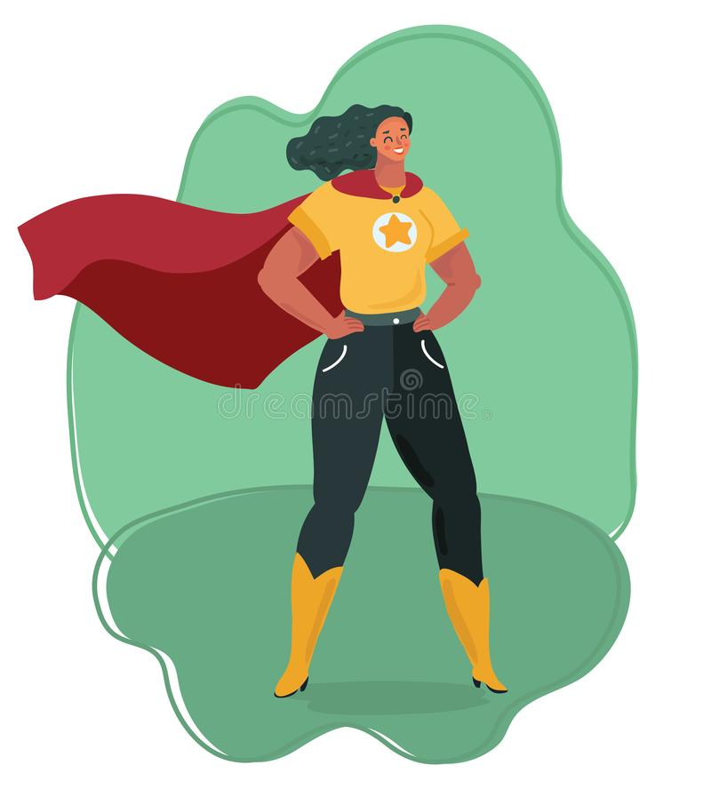 Super heroine watching over city. royalty free illustration