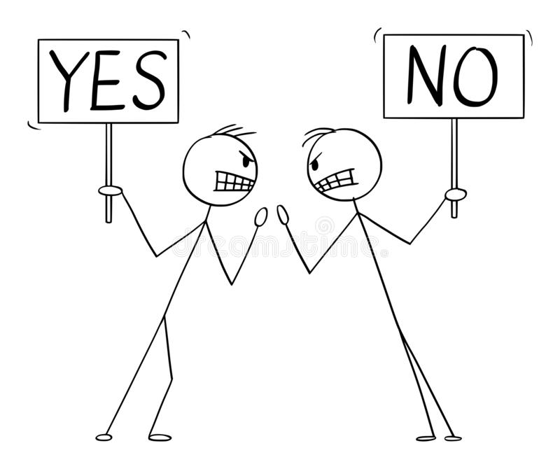 Vector Cartoon Illustration of Two Angry Men or Businessmen in Fight Arguing or Argument with Yes and No Signs In Hands royalty free illustration