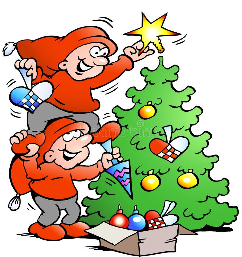Vector Cartoon illustration of two happy Elf decorate the Christmas Tree stock illustration