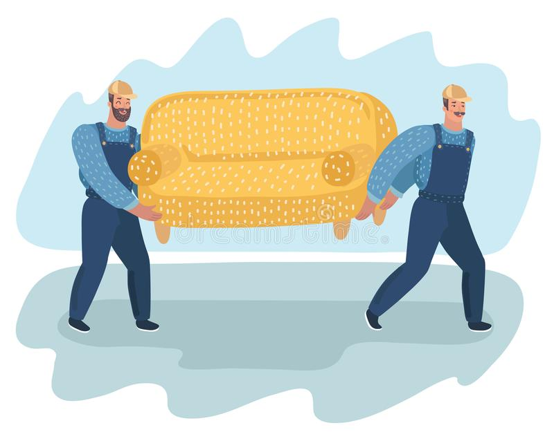 Two porters carry sofa. vector illustration