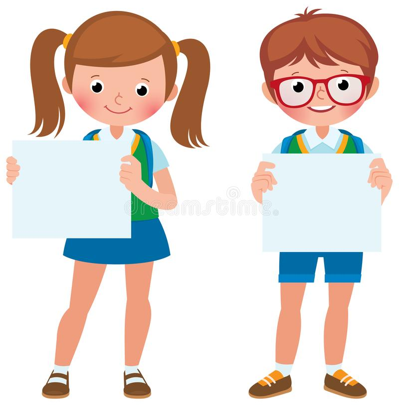 Vector cartoon illustration of two student girl and boy are hold a blank banner royalty free illustration