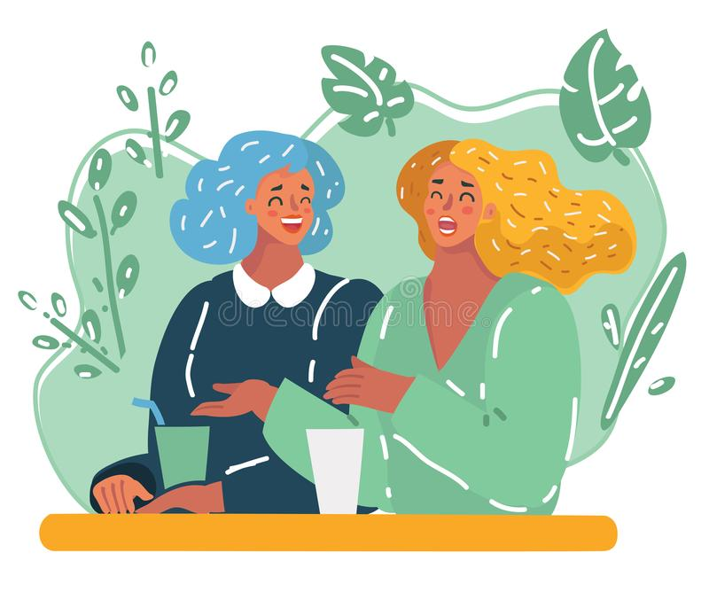 Two style girlfriends together. Vector cartoon illustration of Two style girlfriends having drink together and relaxing in cafe. Happy laughing woman together vector illustration