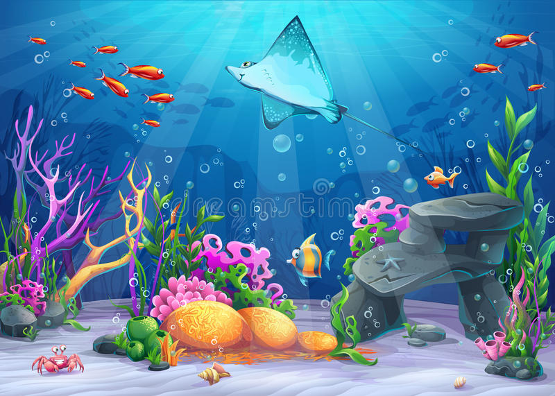 Vector cartoon illustration undersea vector illustration