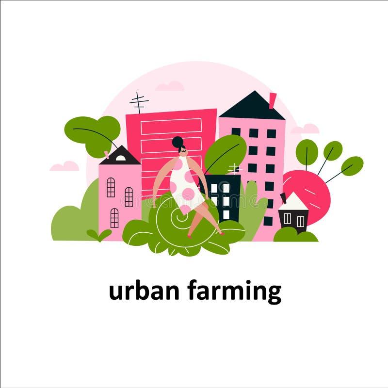 Vector-Cartoon-Illustration von Frauen auf einem großen Kohl und Stadtlandschaft sitzen vektor abbildung