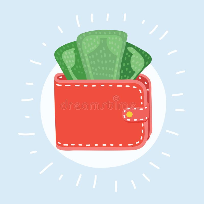 Wallet with money icon stock illustration