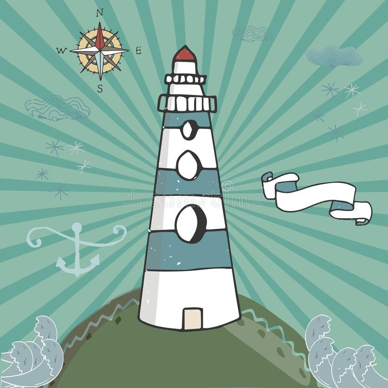 Vector cartoon illustration with waves and mountains. lighthouse on the rocks, sea landscape with blue sky vector illustration