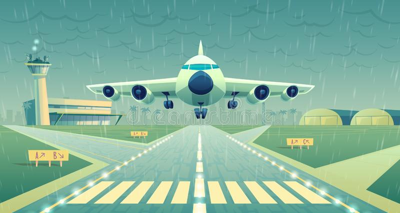 Vector cartoon white airliner, jet over runway. Vector cartoon illustration, white airliner, jet over runway. Takeoff or landing of commercial airplane in royalty free illustration