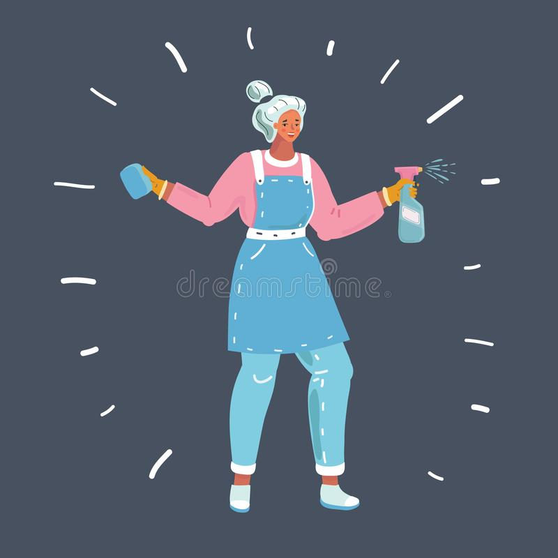 Woman cleaning a window with cleaning sprayer. royalty free illustration