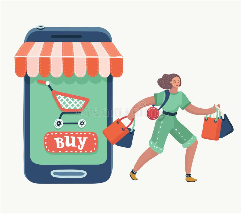 Woman doing online shopping bag. royalty free illustration