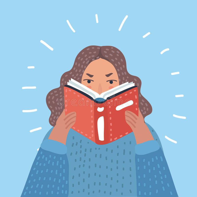 Woman reading textbook royalty free illustration