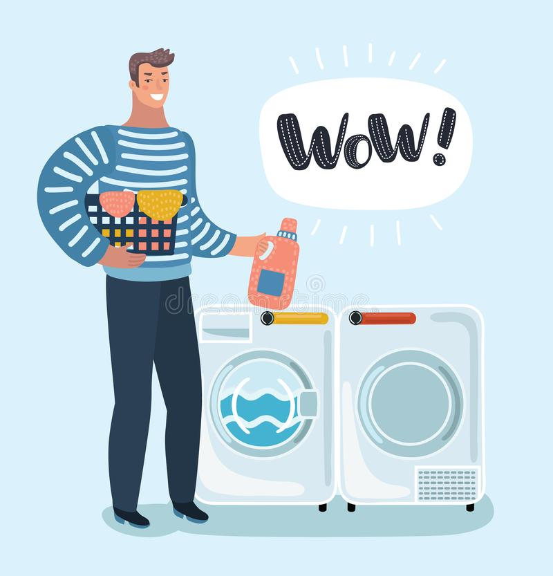 Young character holding a laundry basket. Laundromat. Detergent. Daily chores concept. Vector cartoon illustration of young character holding a laundry basket stock illustration