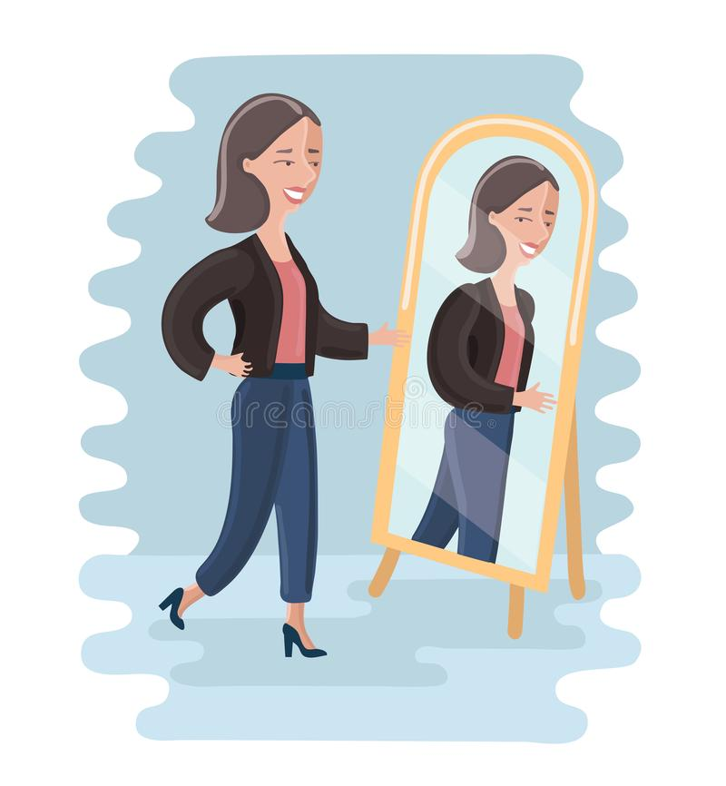 Young woman looking at herself in a mirror in dressing room. stock illustration