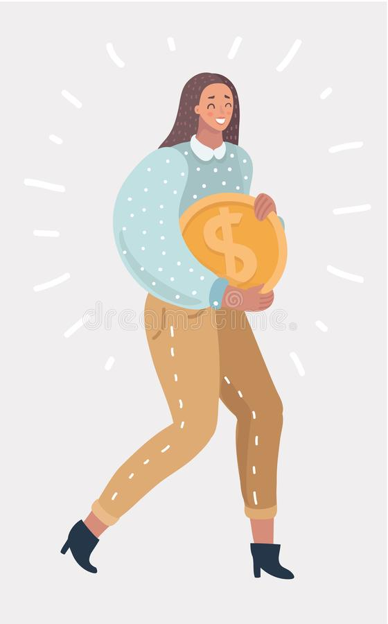 Female character with symbol of wealth, richness. royalty free illustration