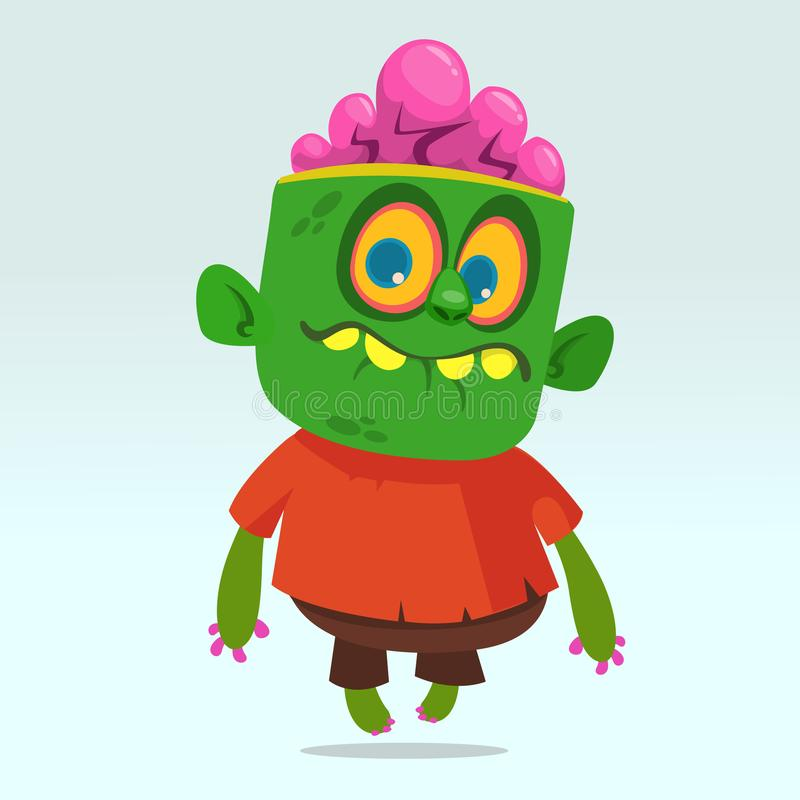 Vector cartoon image of a funny green zombie with big head in brown pants and red t-shirt walking. To the right and smiling on a light gray background stock illustration