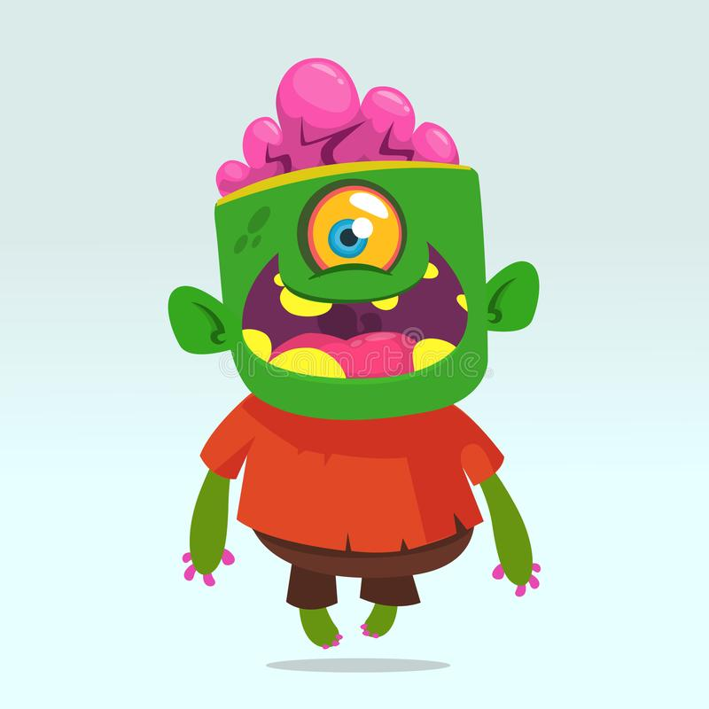 Vector cartoon image of a funny green zombie with big head in brown pants and red t-shirt walking. To the right and smiling on a light gray background royalty free illustration