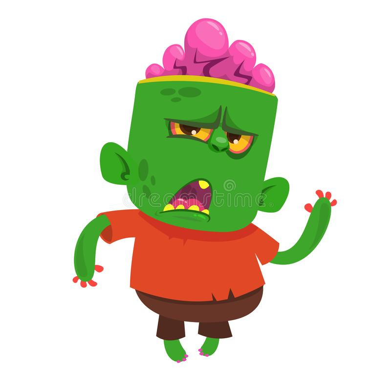 Vector cartoon image of a funny green zombie with big head in brown pants and red t-shirt walking. To the right and smiling on a light gray background vector illustration