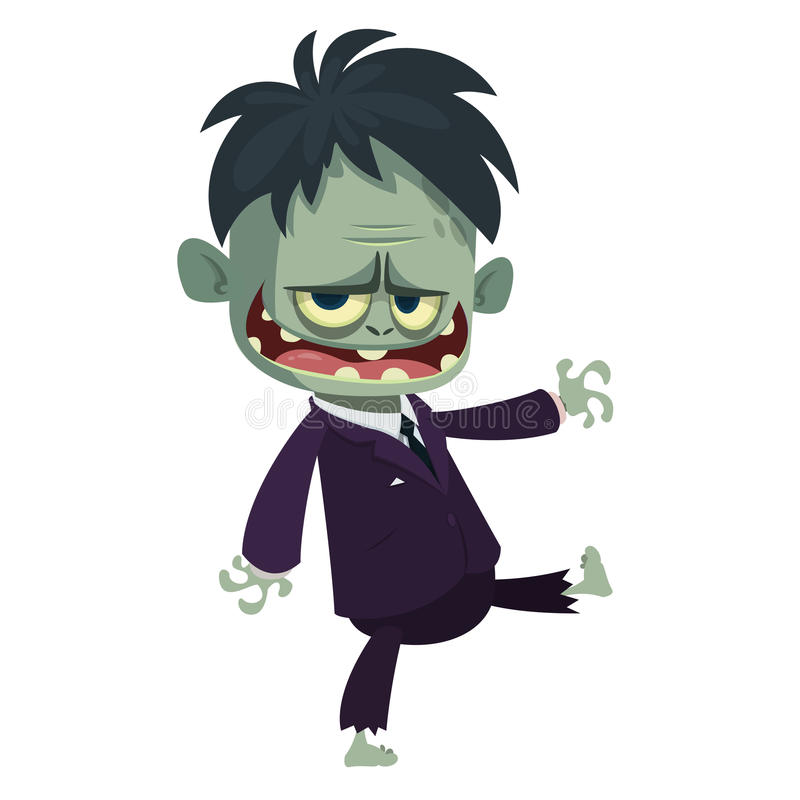 Vector cartoon image of a funny zombie with big head. Halloween vector illustration. Vector cartoon image of a funny zombie with big head business suit isolated stock illustration