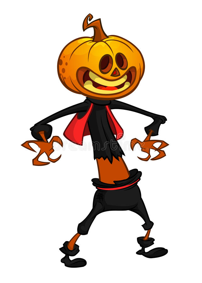 Vector cartoon image of Jack O` Lantern. Vector illustration. Vector cartoon image of Jack O` Lantern with orange pumpkin instead of a head, in a dark coat and royalty free illustration