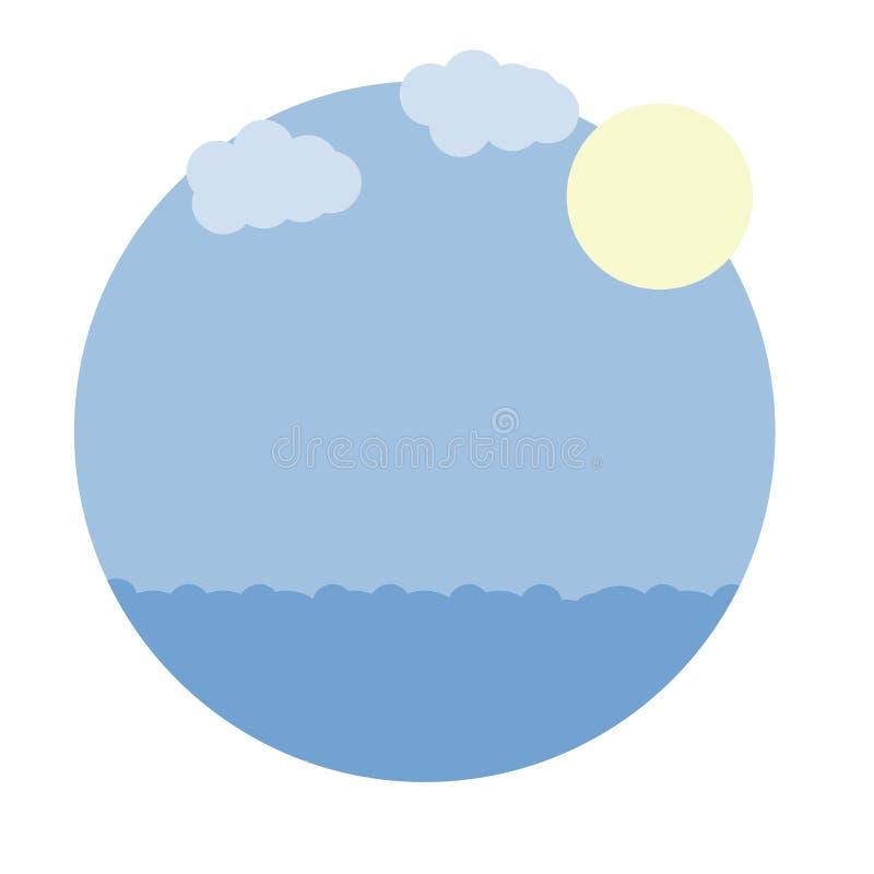 Vector cartoon image round frame with blue sea, sky, sun stock illustration
