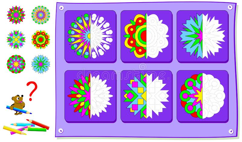 Educational page for kids. Need to paint second parts of flowers. Developing children skills for drawing and coloring. Vector cartoon image. Scale to any size stock illustration