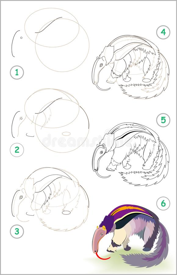 Page shows how to learn step by step to draw a cute anteater. Developing children skills for drawing and coloring. Vector image. Vector cartoon image. Scale to stock illustration