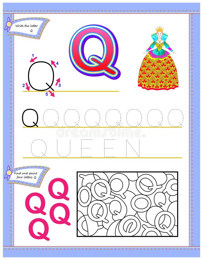 Worksheet for kids with letter Q for study English alphabet. Logic puzzle game. Developing children skills for writing and reading. Vector cartoon image. Scale vector illustration