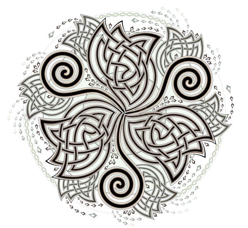 Fantasy Celtic disk ornament with triple spiral symbol. vector illustration