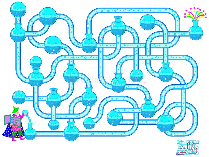 Logic puzzle game with labyrinth for children and adults. Find the way for the chemical reaction from wizard till fireworks. Vector cartoon image. Scale to any royalty free illustration