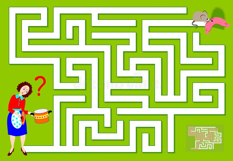 Logic puzzle game with labyrinth for children and adults. Which way the mouse has ran away?. Vector cartoon image. Scale to any size without loss of resolution royalty free illustration