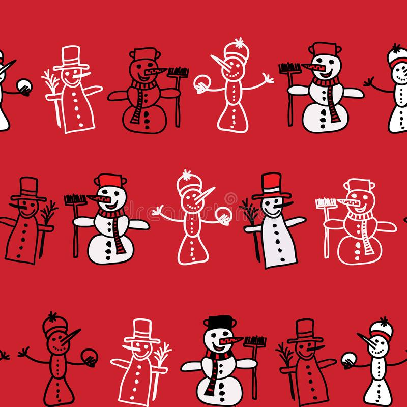 Vector cartoon image of a set of cute white snowmen in different clothes with different attributes of Christmas in hands vector illustration