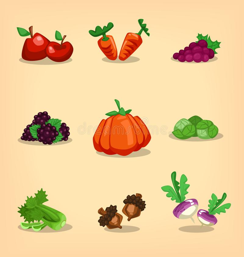 Vector cartoon isolated autumn fruit and vegetable set. Vector cartoon isolated autumn fresh fruit and vegetable collection set with fun style apple carrot grape stock illustration