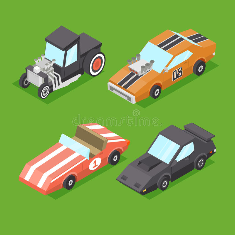 Vector Cartoon Isometric Super Cars royalty free illustration