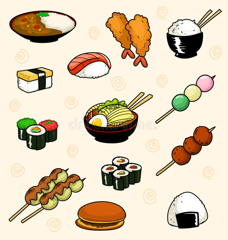 Vector cartoon japanese food doodle collection with rice sushi onigiri dorayaki and ramen in fun kid style. Vector cartoon japanese food doodle illustration royalty free illustration