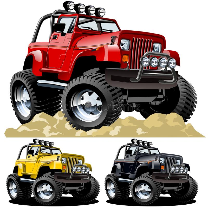 Vector cartoon jeep vector illustration
