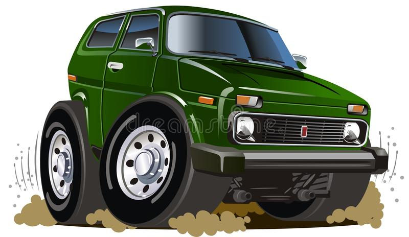 Vector cartoon jeep stock illustration