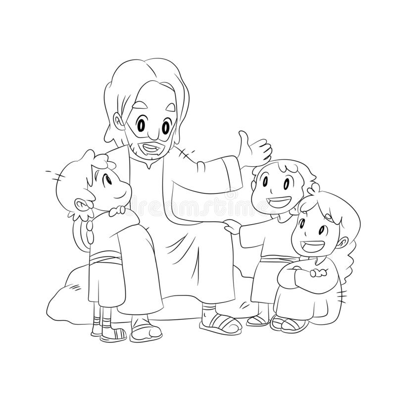 A vector cartoon of Jesus talking to children in black and white. vector illustration