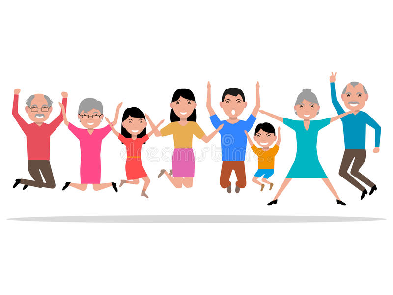 Vector cartoon jumping happy smiling people royalty free illustration