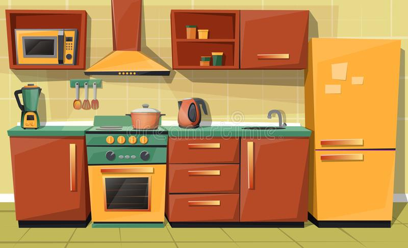 Vector cartoon kitchen counter with appliances, furniture. Vector cartoon set of kitchen counter with appliances - fridge, microwave oven, kettle, blender, stove royalty free illustration