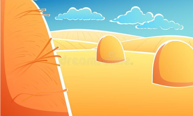 Vector cartoon landscape Fields and mowing hay field - haystacks vector illustration