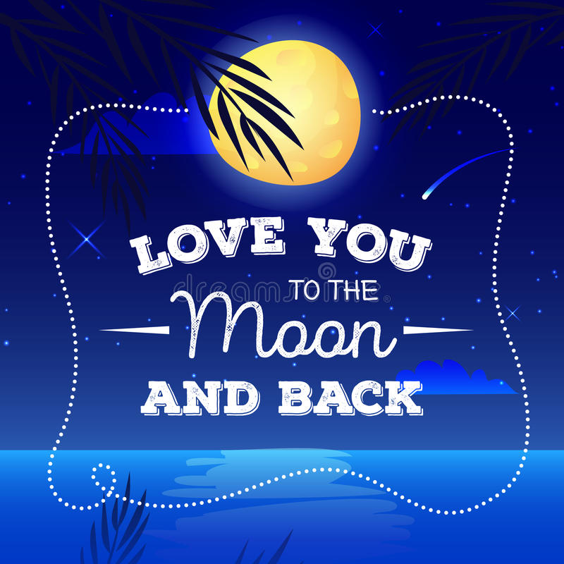 Vector Cartoon Landscape With Romantic Quote I Love You To