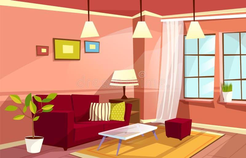 Vector cartoon living room apartment interior stock illustration