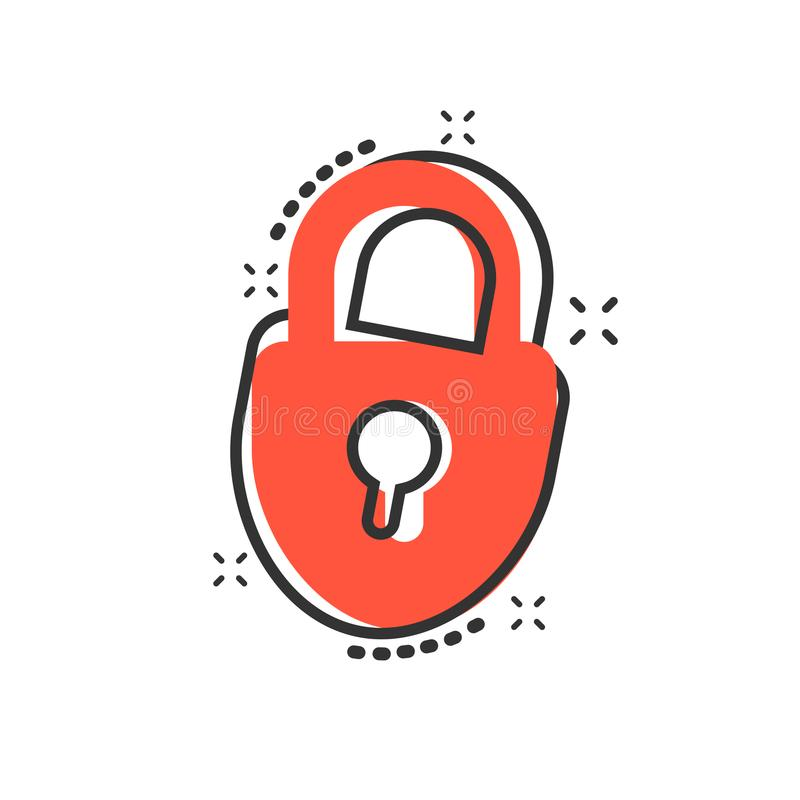 Vector cartoon lock icon in comic style. Padlock locker sign ill vector illustration