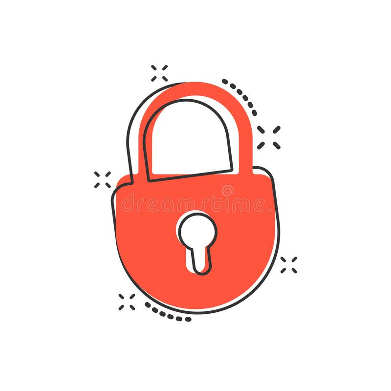 Vector cartoon lock icon in comic style. Padlock locker sign ill royalty free illustration