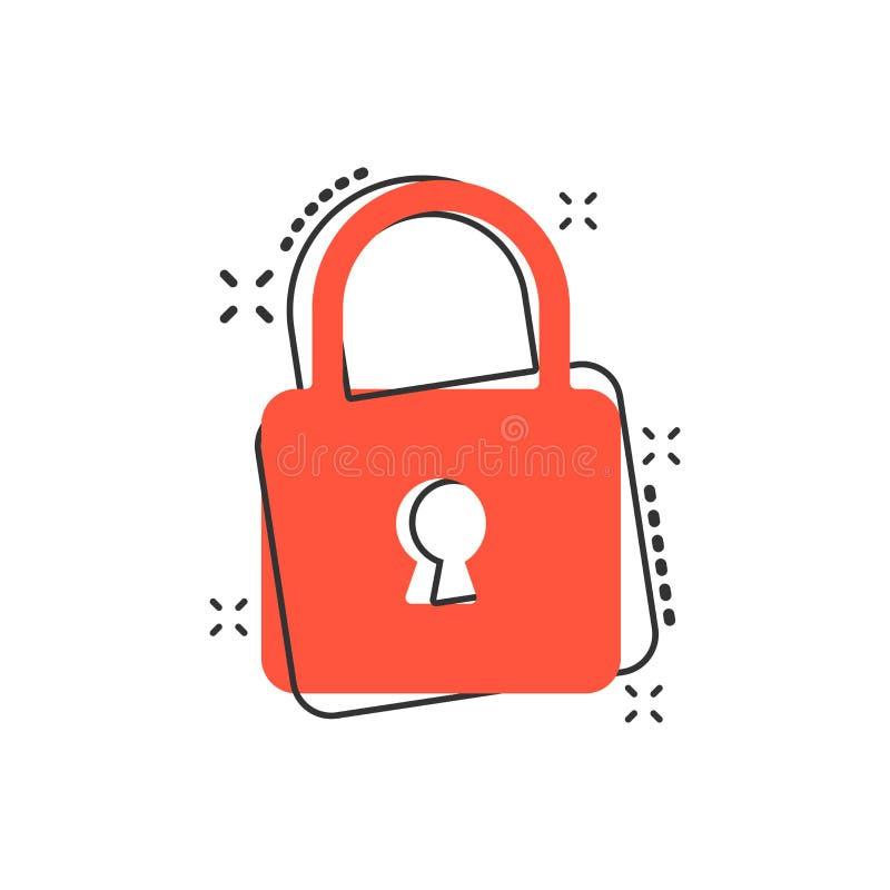 Vector cartoon lock icon in comic style. Padlock locker sign ill stock illustration