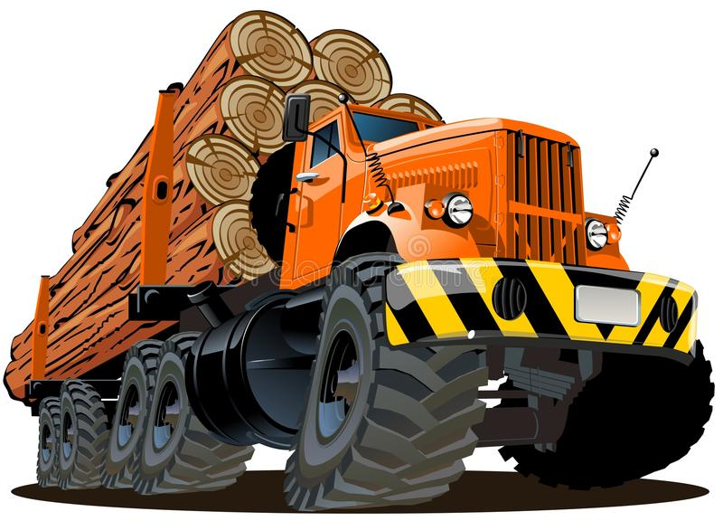 Vector Cartoon Logging Truck Stock Photography
