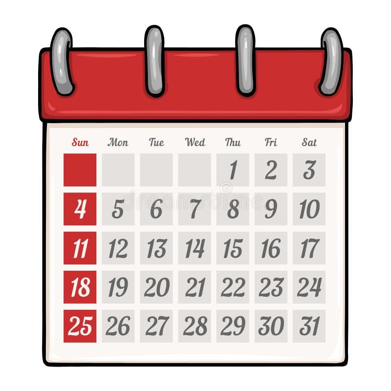 Vector Cartoon Loose-leaf Calendar. On White Background royalty free illustration