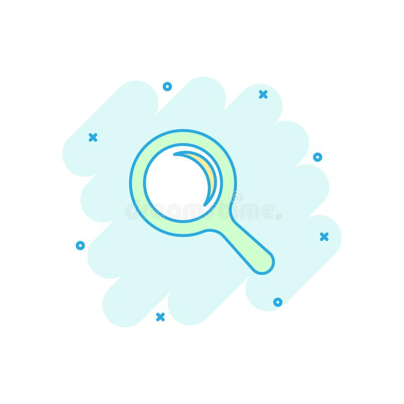 Vector cartoon magnifying glass icon in comic style. Search magnifier illustration pictogram. Find search business splash effect. Concept vector illustration