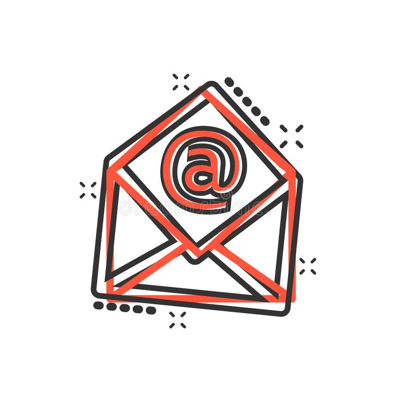 Vector cartoon mail envelope icon in comic style. Email sign ill. Ustration pictogram. Mail business splash effect concept stock illustration