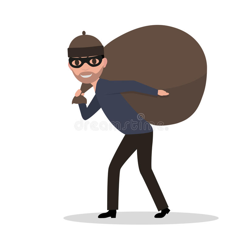 Vector cartoon male thief carrying bag with a loot stock illustration